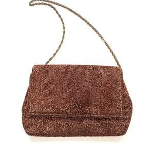 Vintage 1960s Bronze Sparkly Small Evening Bag